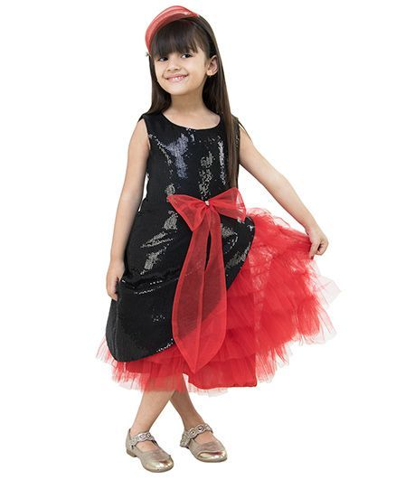 Samsara Couture Party Wear Sleeveless Party Frock Bow Applique - Black Red
