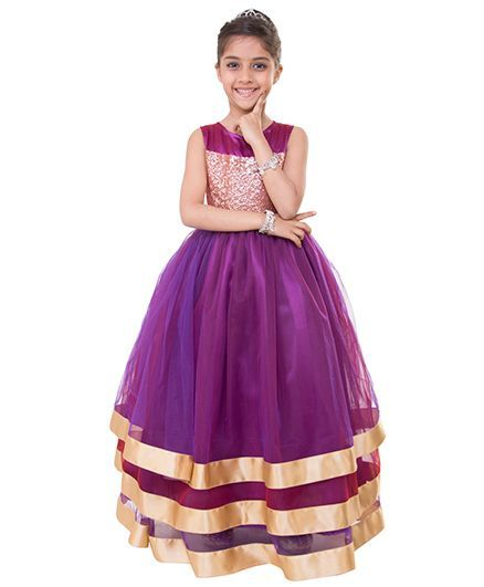 Samsara Couture Party Wear Sleeveless Ball Gown - Dark Purple Golden