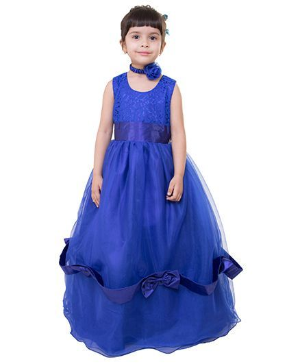 Samsara Couture Sleeveless Party Wear Ball Gown - Royal Blue