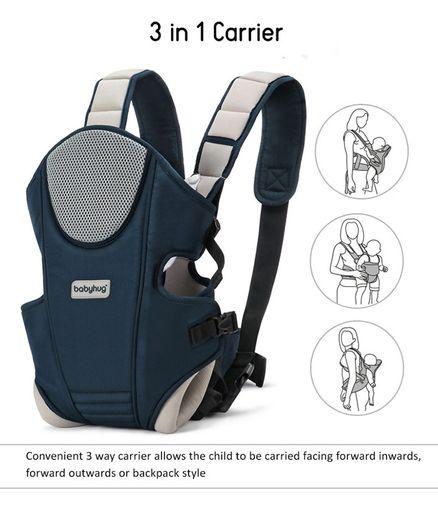 cd8a5579dd Babyhug First Blossom 3 Way Baby Carrier With Detachable Bib & Head Cushion  - Navy Blue