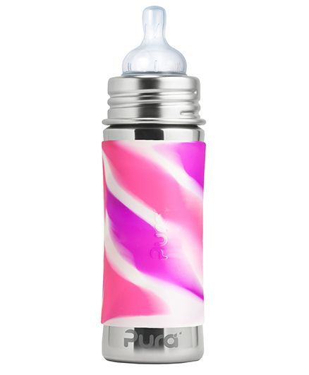 Pura 11 Oz Stainless Steel Infant Bottle With Silicone Sleeve And Natural Vent Nipple, Pink Swirl