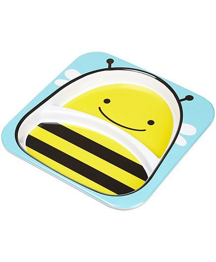 Skip Hop Melamine Feeding Divided Plate Brooklyn Bee Design - Yellow Blue