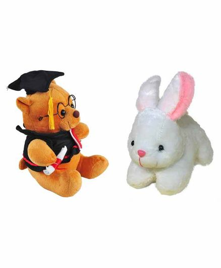 Deals India Teddy And Rabbit Soft Toys - Yellow Pink White