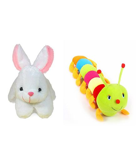 Deals India Rabbit & Caterpillar Soft Toy - White Multi Color