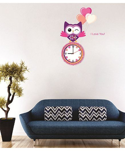 syga owl wall clock sticker multi color online in india, buy at best