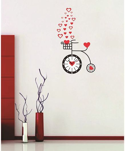 syga cycle & clock wall sticker red black online in india, buy at best