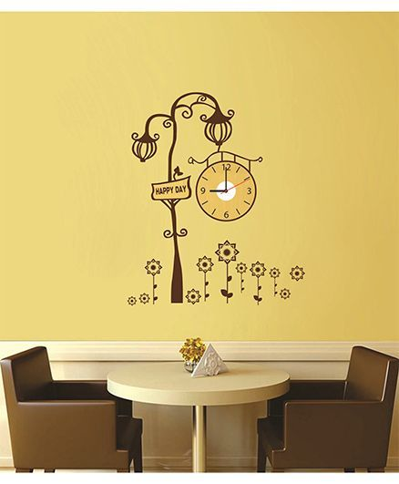 syga royal lamp wall sticker clock design brown online in india