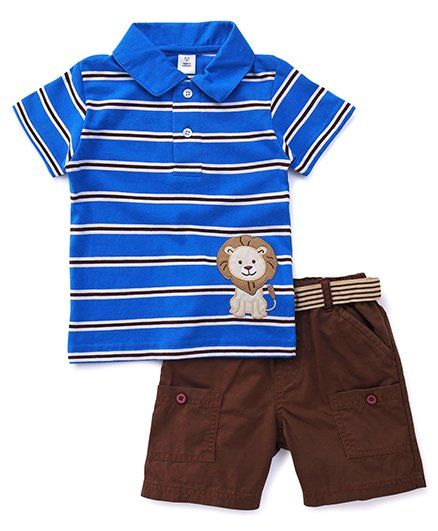 160da835aee4 ToffyHouse Half Sleeves T-Shirt And Shorts Set Lion Patch - Blue Brown