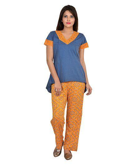 263babadd5de7 9teenAGAIN Half Sleeves Nursing Night Suit Blue Orange Online in ...