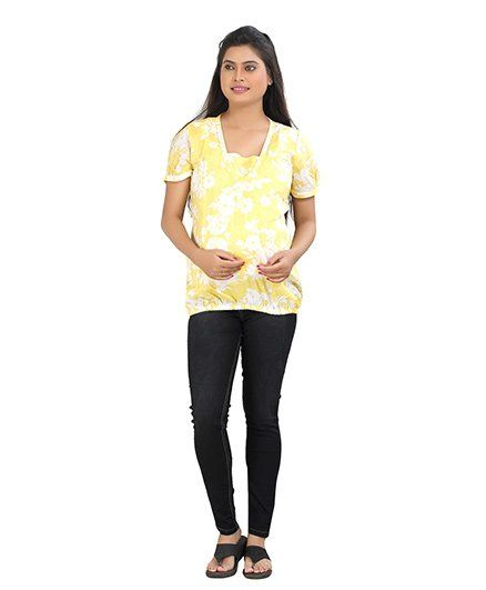 fda958d84560f3 Uzazi Puff Sleeves Floral Print Yellow White Online in India