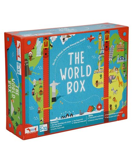 Cocomoco Kids World Box Activity Kit Learn Geography With Map Passport Country Trump Cards And Scrapbook