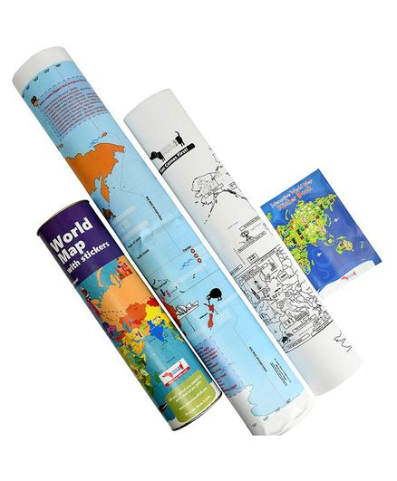 Cocomoco Kids World Map with Reusable Stickers Activity Kit
