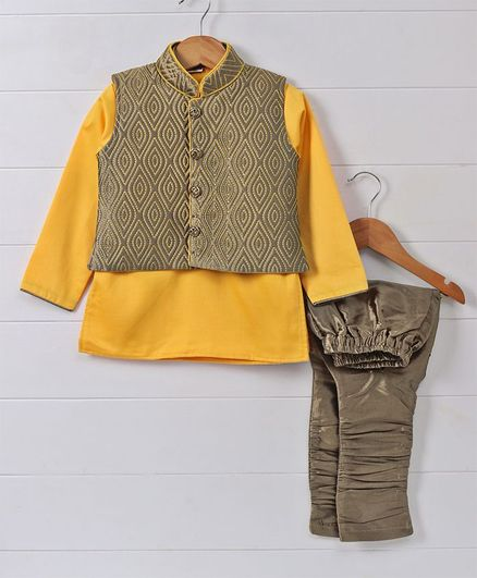 891e40db8 Buy Ethniks Neu Ron Kurta Pajama With Jacket Set Yellow Brown for ...