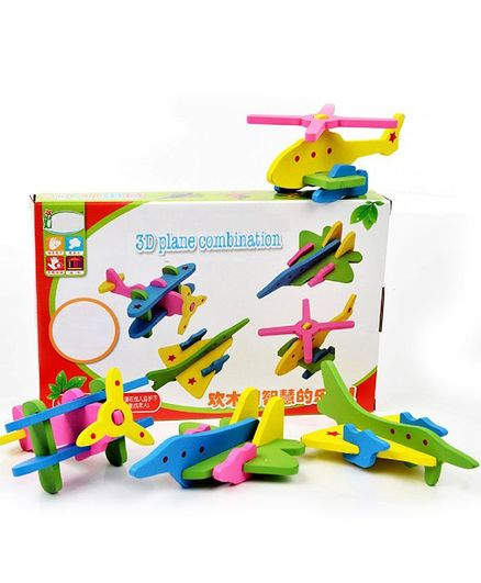 Emob 3D Wooden Plane Building Blocks Multi Color - 22 Pieces