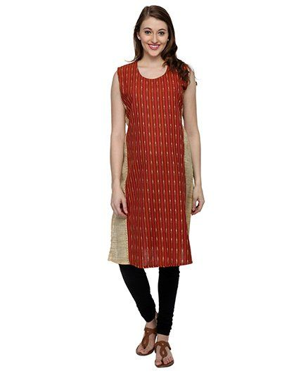 Morph Sleeveless Maternity Kurti Printed - Brown