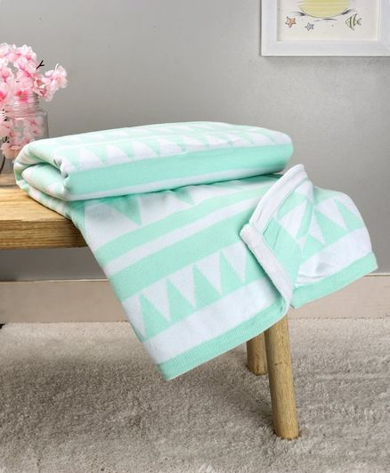 Babyhug Premium Knitted All Season Blanket Triangles - Sea Green