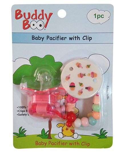 Buddyboo Baby Pacifier With Clip - Pink
