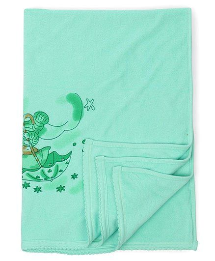 Tinycare Baby Towel Teddy Print - Light Green
