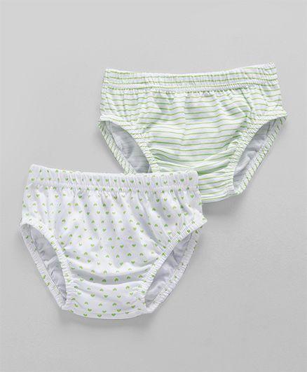 Babyhug Cotton Panties Heart Print Green & White - Pack of 2