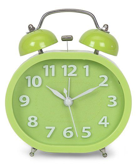 Twin Bell Analog Alarm Clock - Green