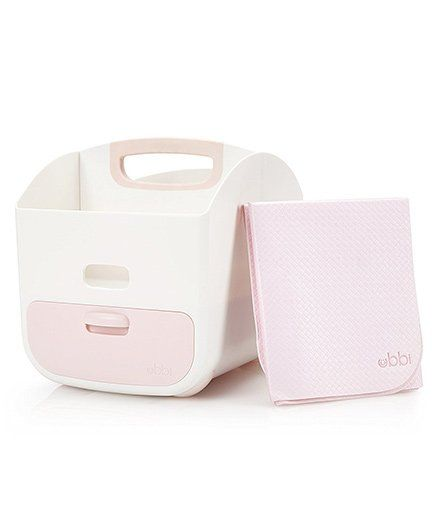 Ubbi Diaper Storage Caddy With Mat - Light Pink