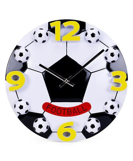 Foot Ball Print Wall Clock - White+Black