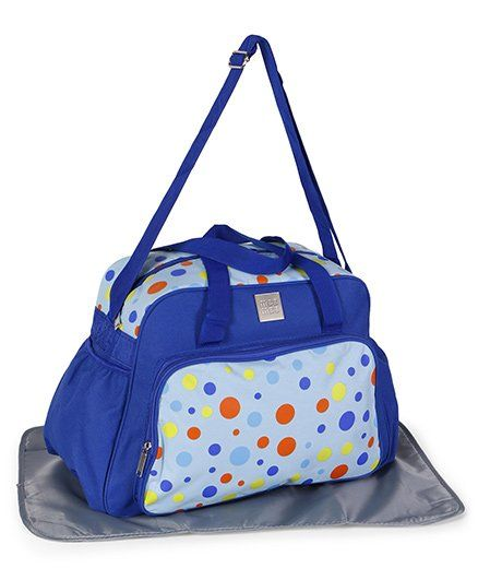 Mee Mee Diaper Bag With Changing Mat Polka Dot Print - Blue