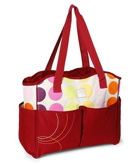Mee Mee Diaper Bag with Polka Dot Print - Red