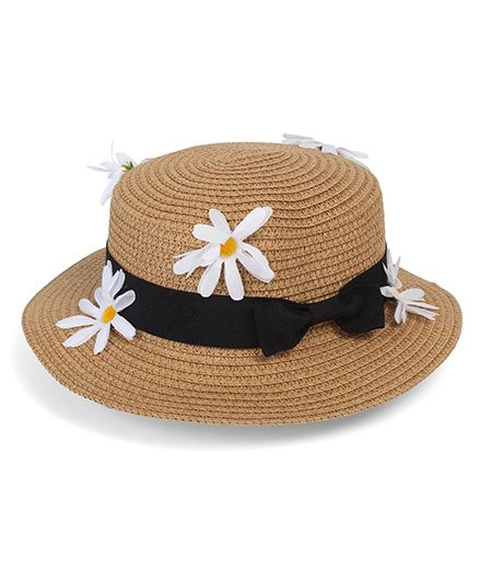 84b71c391cd Babyhug Floral   Bow Design Hat With Adjustable String Brown ...