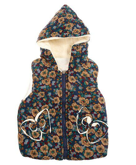 f5e51737f Buy Zonko Style Flower Printed Hooded Baby Jacket Dark Blue for ...
