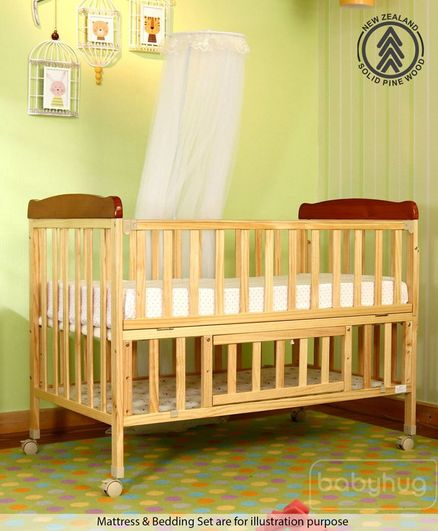 Babyhug Hamilton Wooden Cot With Mosquito Net & Storage Space - Natural Finish