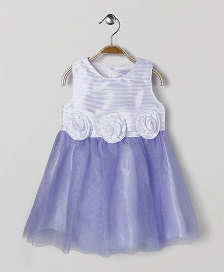 7fd08a49bcc Buy Wonderchild Sleeveless Floral Dress Purple   White for Girls (3-4 ...
