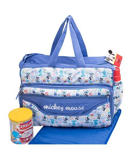 Disney Mickey Mouse Design Diaper Bag With Changing Mat-2