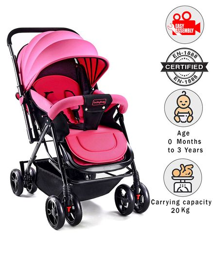 Babyhug Symphony Stroller With Reverisble Handle & Mosquito Net - Pink