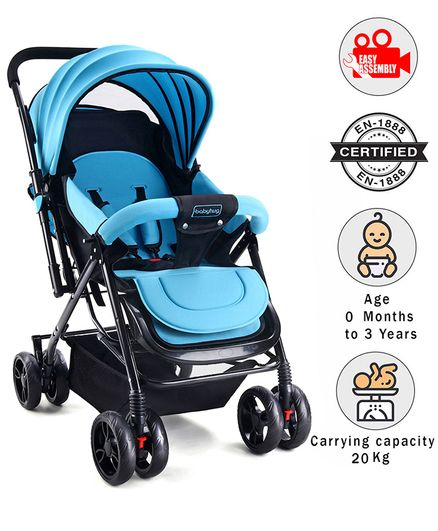 Babyhug Symphony Stroller With Reverisble Handle & Mosquito Net - Blue