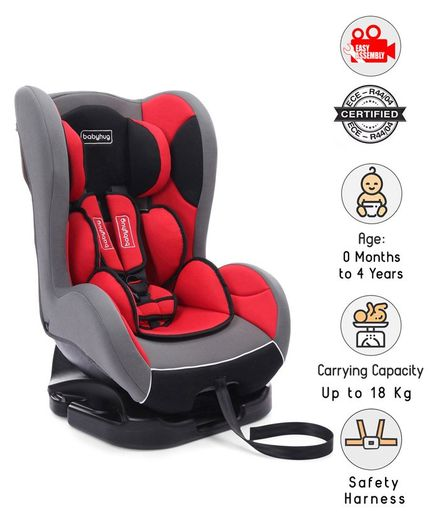Babyhug Cruise Convertible Reclining Car Seat With Side Impact Protection - Red & Black