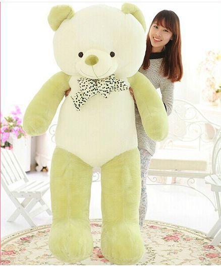 d72f3dbbd1c4 Skylofts Giant Stuffed Teddy Bear With Bow Off White Green - Height 80 cm