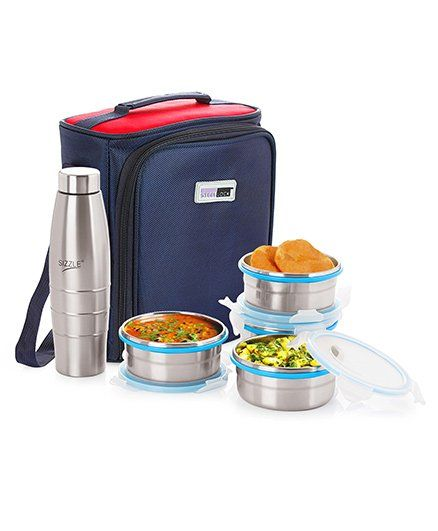 Steel Lock Lunch Box Set With Insulated Bag And Bottle Silver 400 ml Online  in India, Buy at Best Price from Firstcry com - 1792829