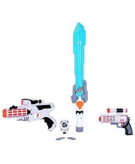 Planet of Toys Space Weapon Set With Light & Sound White Blue - 4 Pieces
