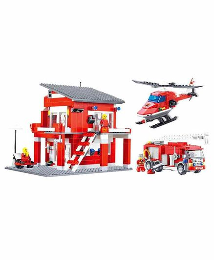 Planet of Toys Fire Rescue Team Building Blocks 558 Pieces - Red