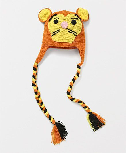 051a65d53ca Mayra Knits Cat Design Funky Winter Cap Orange & Yellow Online in ...