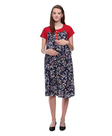 548ac854d5c4e Mammas Maternity Floral Print Dress Red Online in India, Buy at Best ...