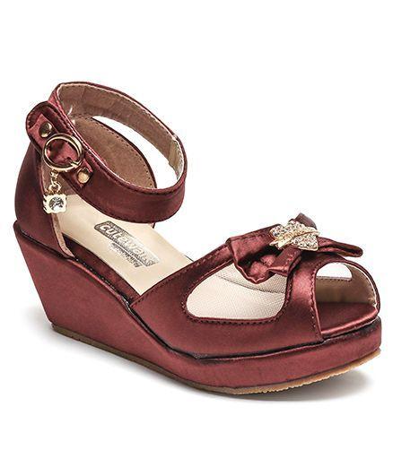 da006db5e1b Buy Cute Walk by Babyhug Party Wear Sandals Bow Motif Maroon for ...