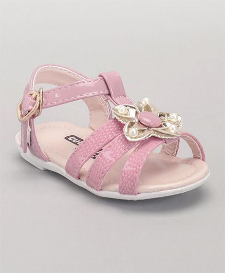 Buy Cute Walk by Babyhug Party Wear Sandals Floral Applique Pink ...