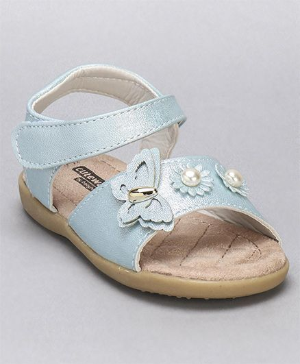 a4cd6ef3f0b Buy Cute Walk by Babyhug Party Wear Sandals Floral Motifs Blue for ...