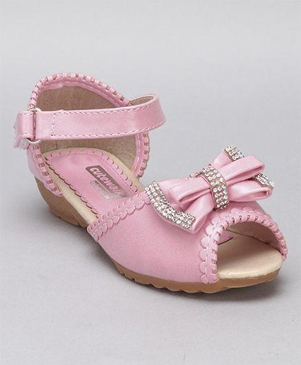 bb3f2de35 Cute Walk By Babyhug Party Wear Sandals Studded Bow Applique - Light Pink