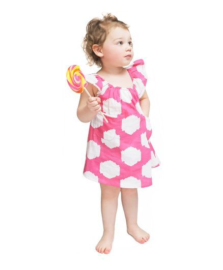 Masala Baby Flutter Sleeves Dress - Pink