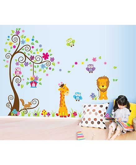 Oren Empower Wall Sticker Animal & Tree Print - Multicolor