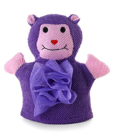 Baby Bath Glove Monkey Shape - Purple