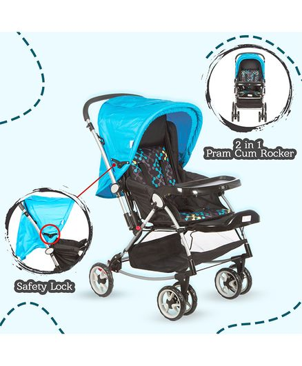 Mee Mee Premium Baby Pram With Rocker Function Rotating Wheels & Adjustable Seat - Blue